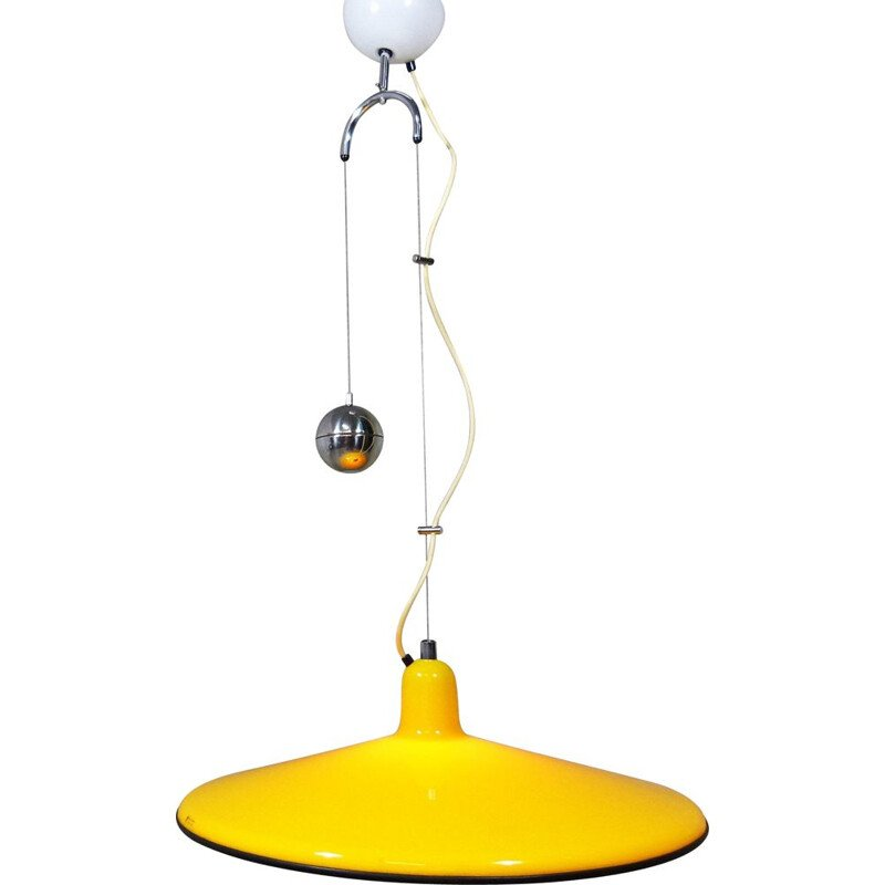 Yellow pendant lamp in plastic by Harvey Guzzini