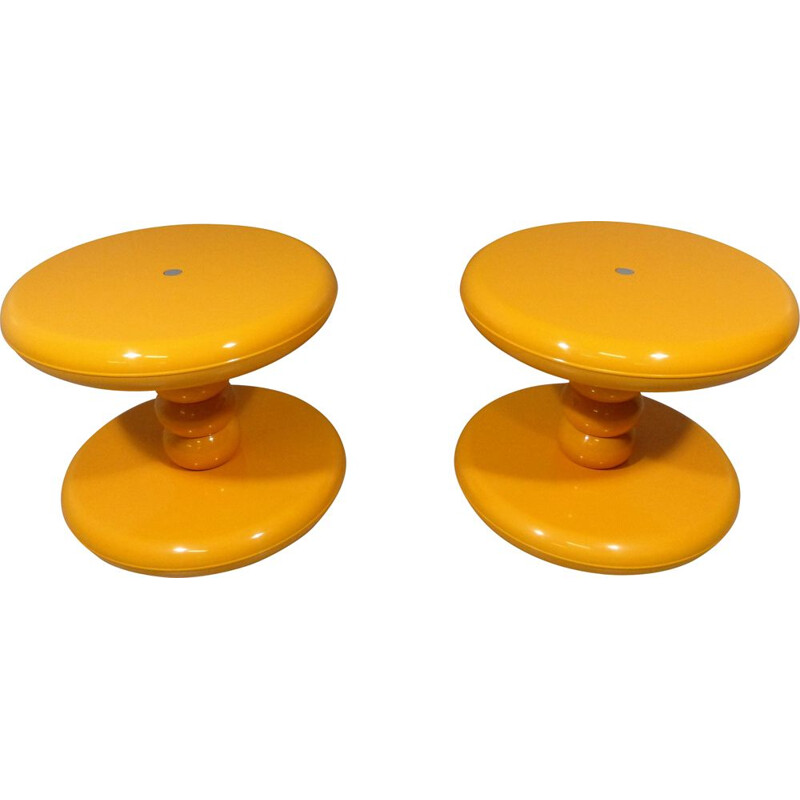 Set of 2 vintage yellow plastic side tables for ABS 1960