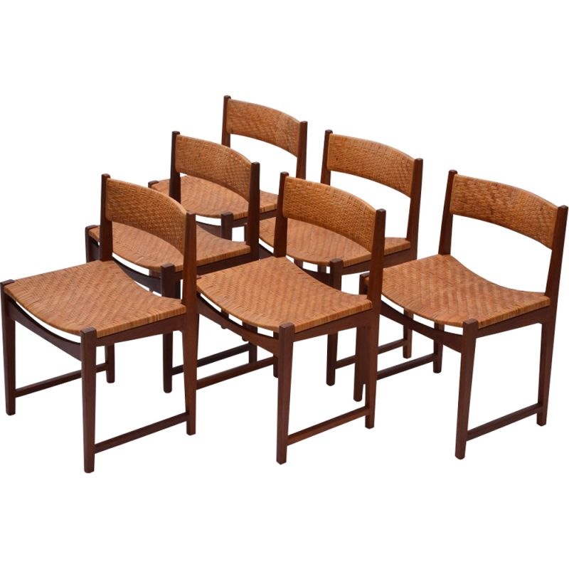 Set of 6 vintage model 350 chairs for Søborg in teak and woven cane