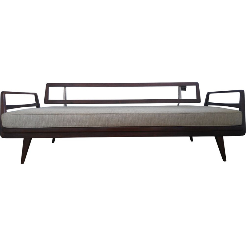 Vintage sofa for Knoll Antimott in wood and fabric 1950