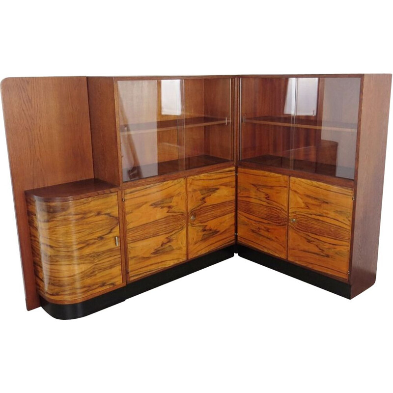 Vintage bookcase for UP Závody in wood and glass 1930