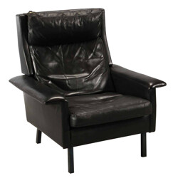 Highback leather and steel armchair, Arne VODDER - 1960s