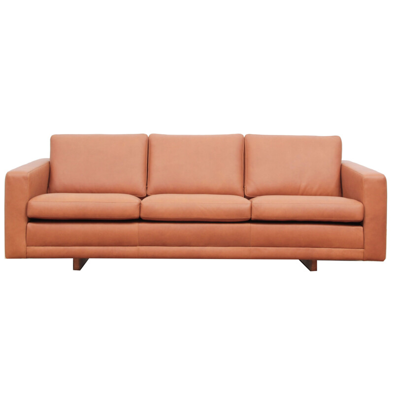 Vintage scandinavian model 205 sofa for Fredericia in oak and brown leather