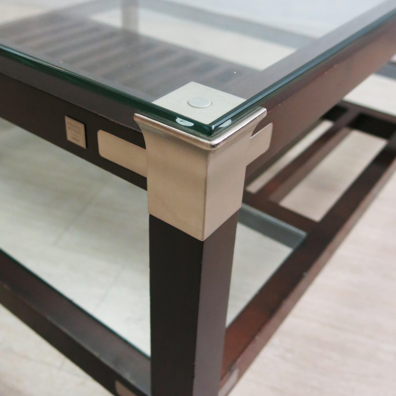 Coffee table in wood glass and metal Pierre VANDEL 1970s