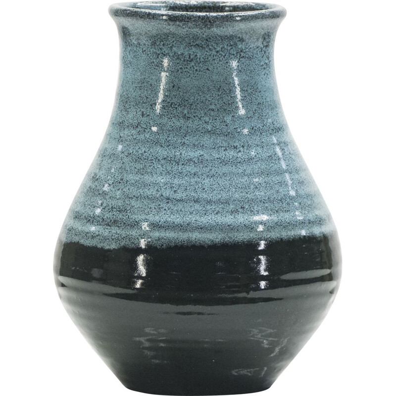 French vintage vase in blue ceramics of Accolay 1960