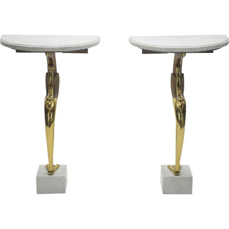 Pair of vintage side tables in brass and marble 1970