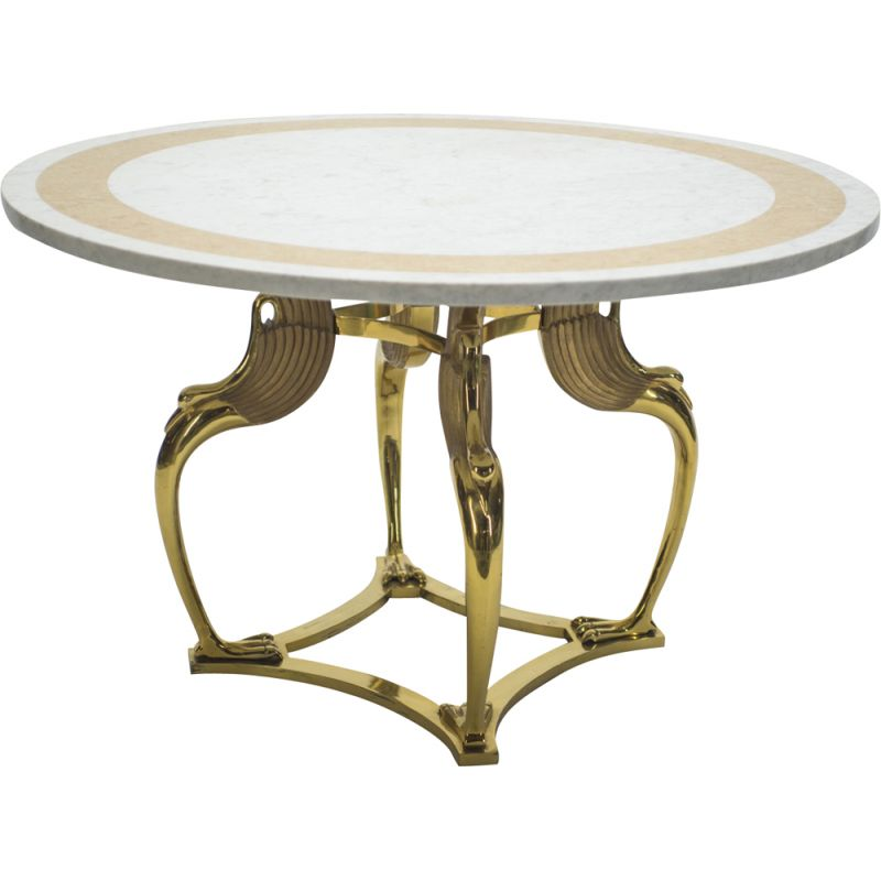 French vintage table in white marble and brass 1970