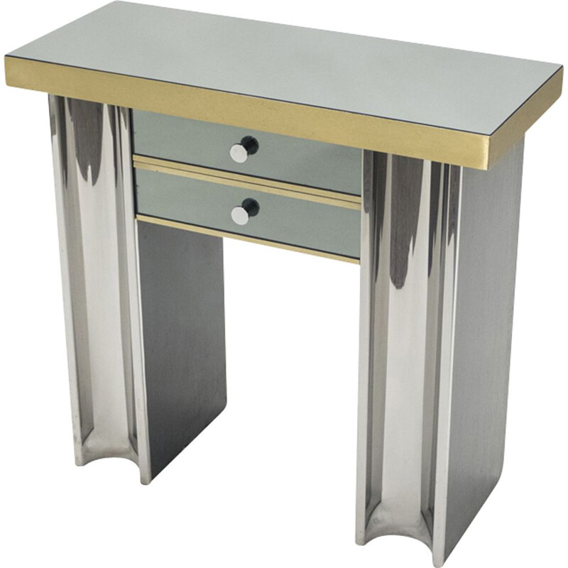 Vintage french console in chrome glass and brass 1970