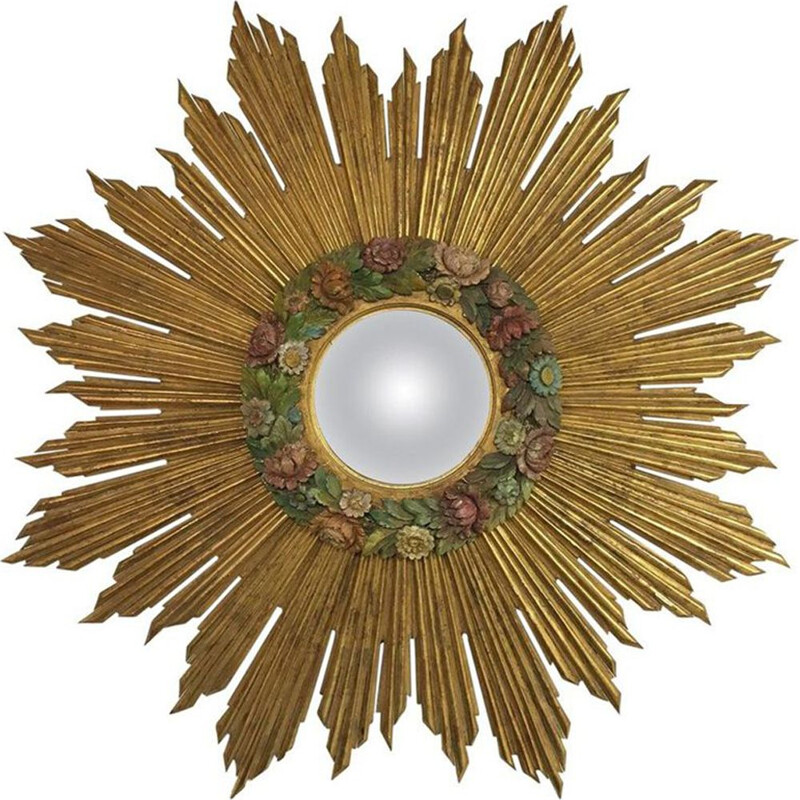 Vintage golden Sunburst mirror in glass