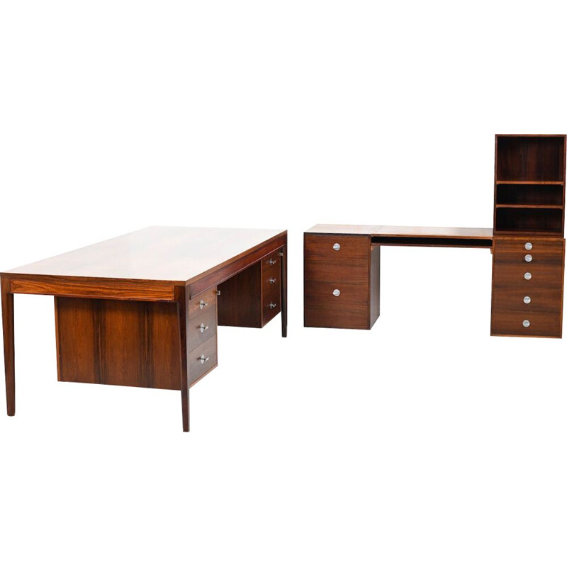"Vintage early Finn Juhl ""Diplomat Series"" rosewood desk and modular sideboard"