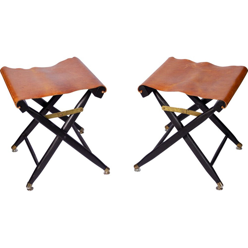 Set of 2 vintage french folding stools leather