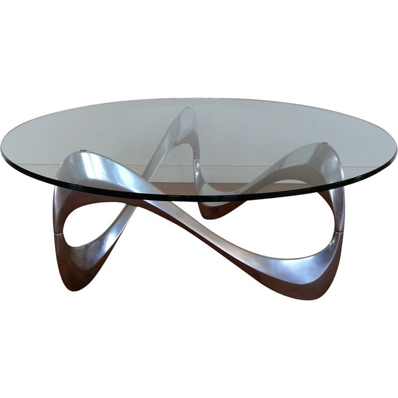 Vintage german coffee table for Ronald Schmitt in aluminium and glass