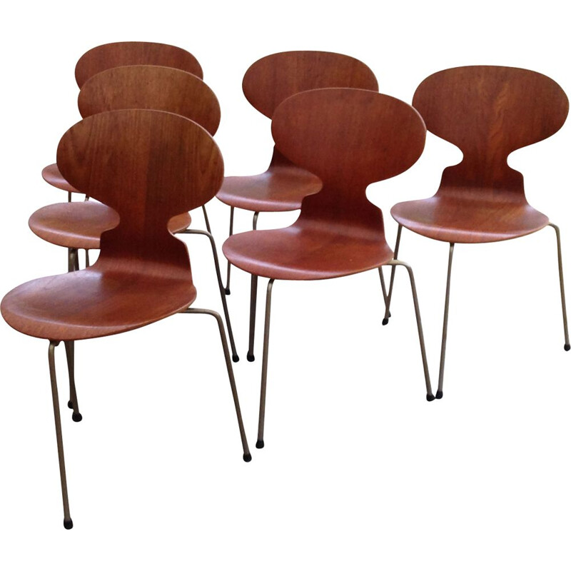 Set of 6 vintage Fourmi 3100 chairs for Hansen in teak and metal 1950