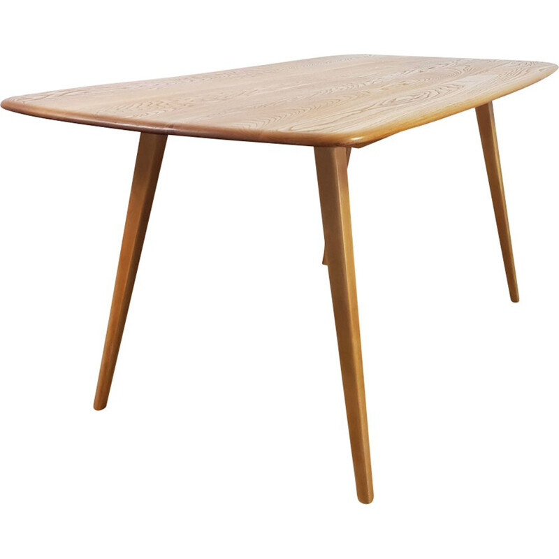 Vintage plank table for Ercol in elm and beechwood 1960