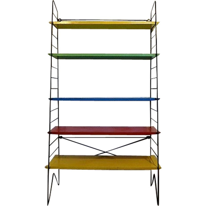 Vintage dutch multi-colored shelves in wood and metal 1960