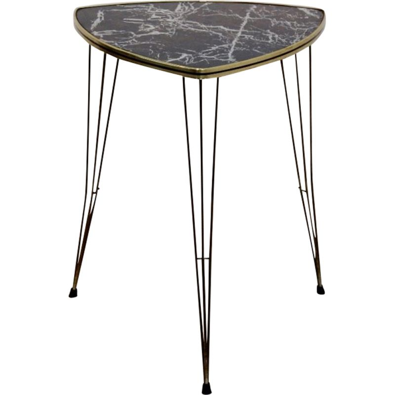 Vintage Formica And Brass Side Table With Marble Print 1950