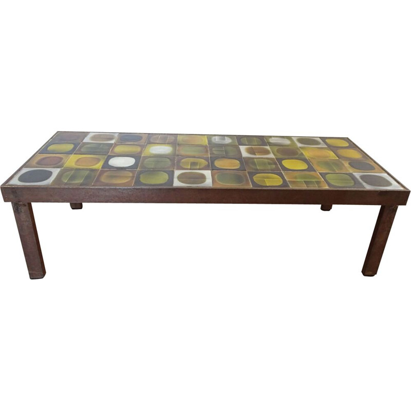 Vintage coffee table by Capron in yellow brown and green ceramic