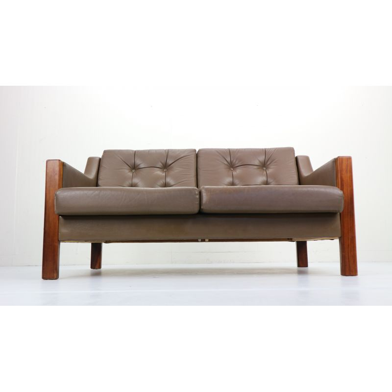 2 Seater Leather Sofa And Rosewood