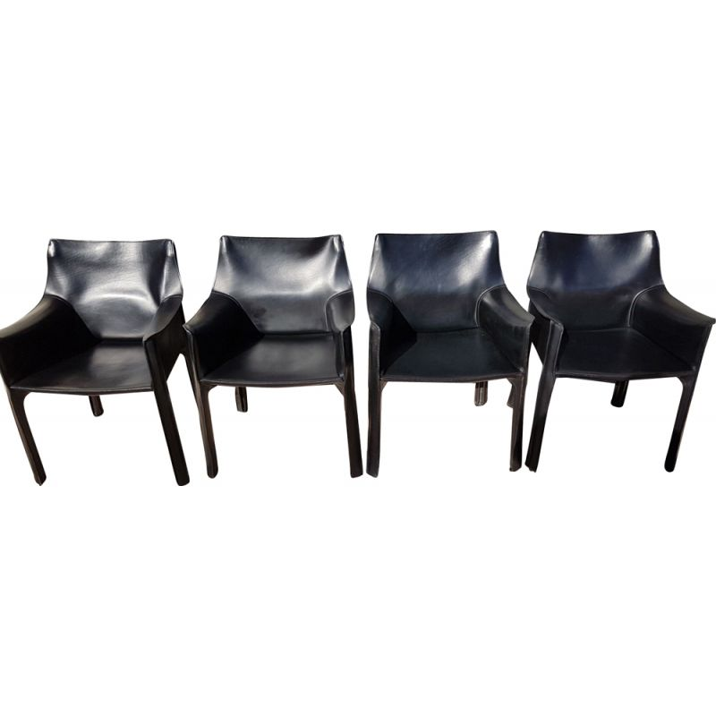 Set of 4 vintage Mario Bellini for Cassina armchairs