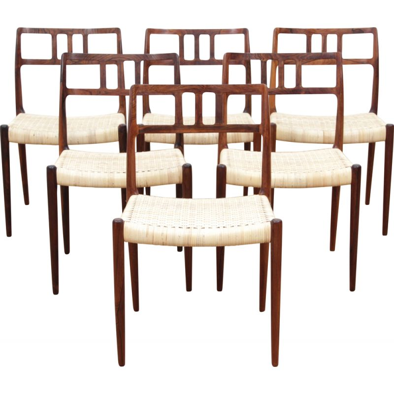 Set of 6 vintage chairs model 79 in Rio rosewood