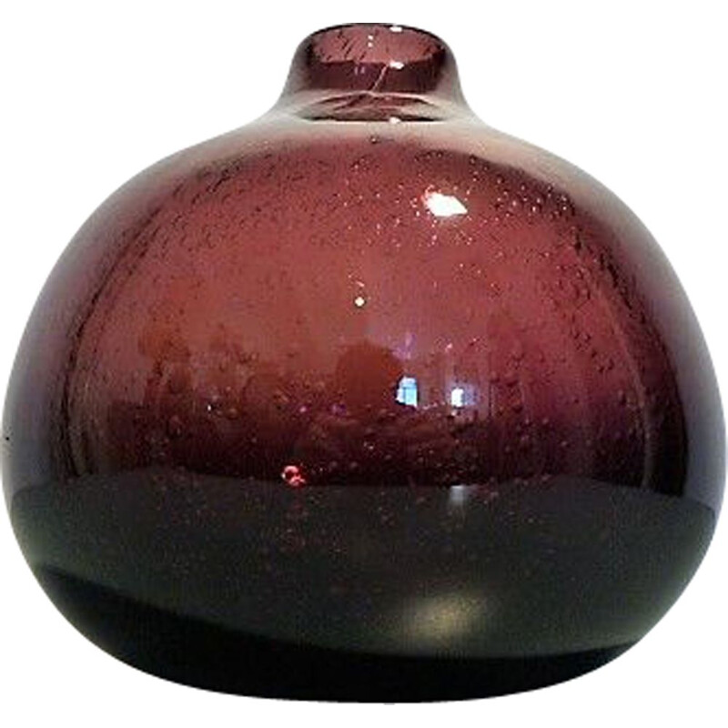 French vintage vase in purple blown glass 1960