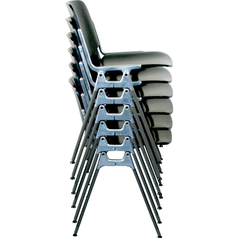 Set of 6 vintage black DSC 106 chairs in wood and aluminium 1960