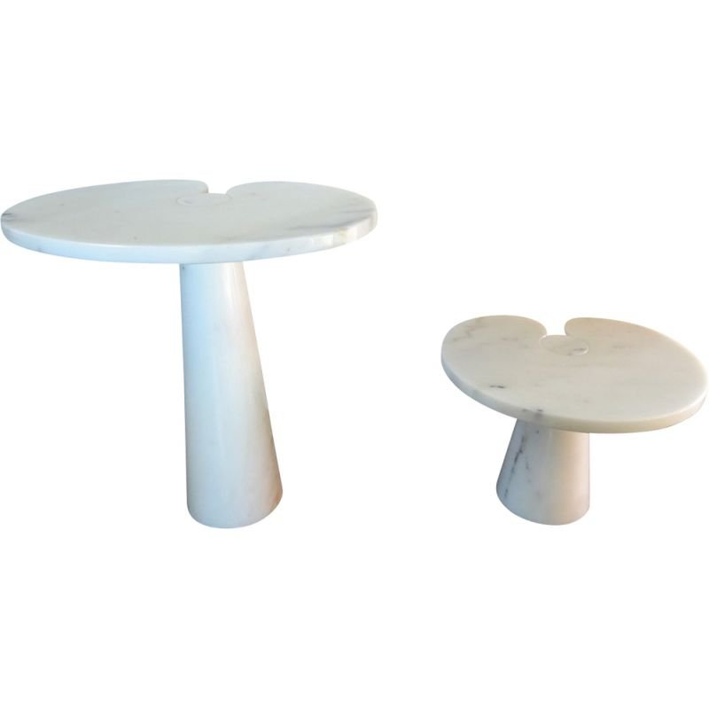 Pair of vintage Eros tables for Skipper in white marble