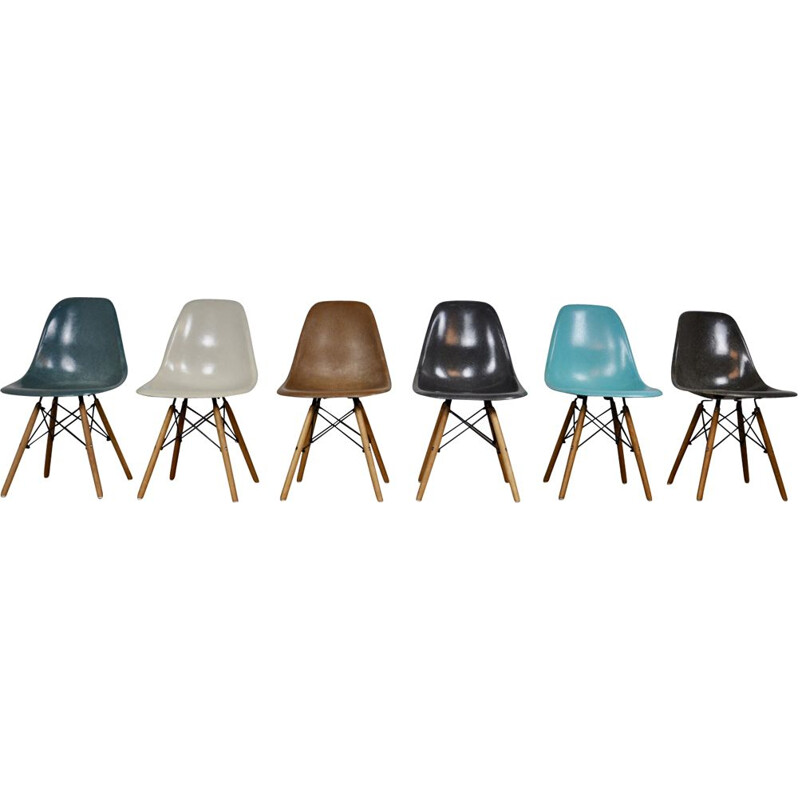 Set of 6 DSW chairs by Eames for Herman Miller