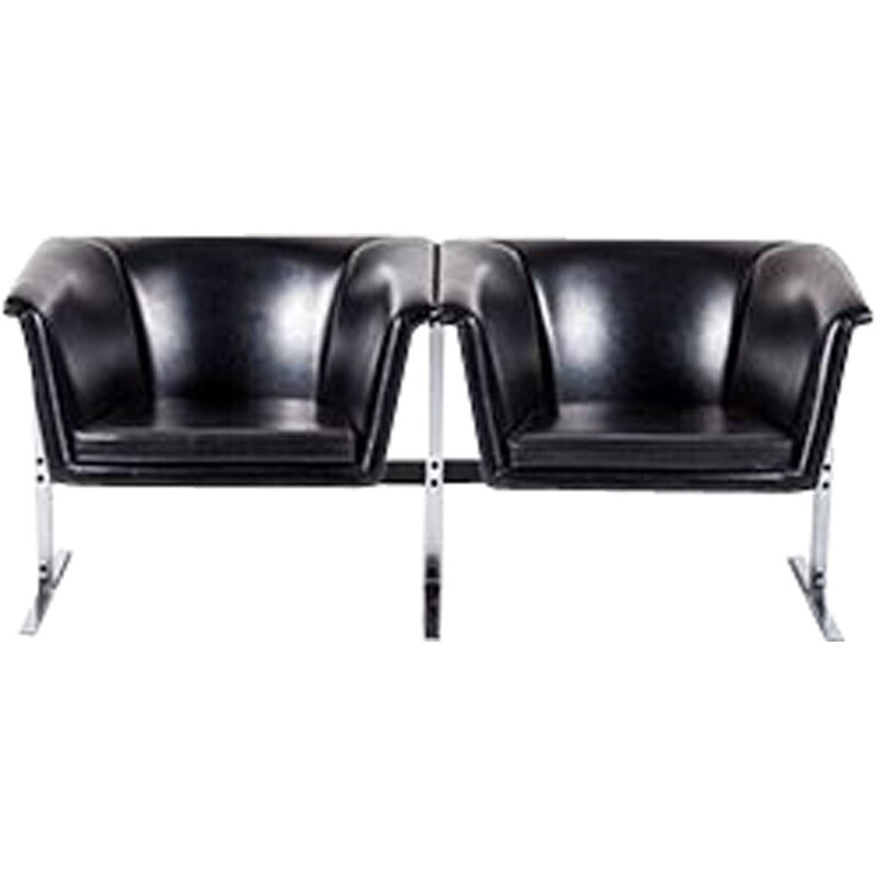 Black 2-seater sofa by Geoffrey Harcourt for Artifort