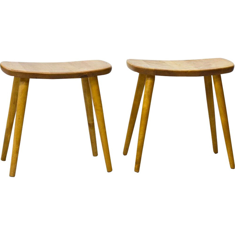 Pair of stools in birchwood by Yngve Ekström