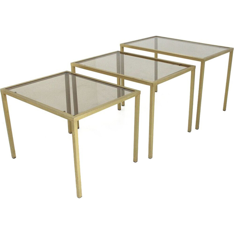 Set of 3 vintage Italian nesting table in brass and glass