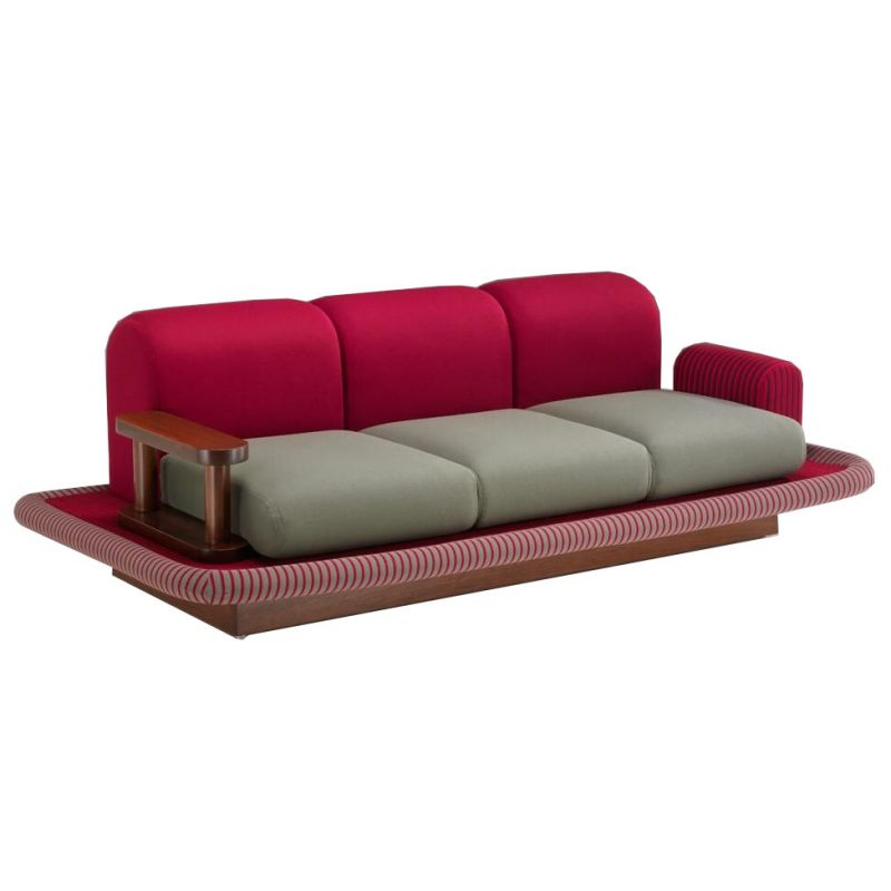 Vintage carpet wheel by Ettore Sottsass sofa