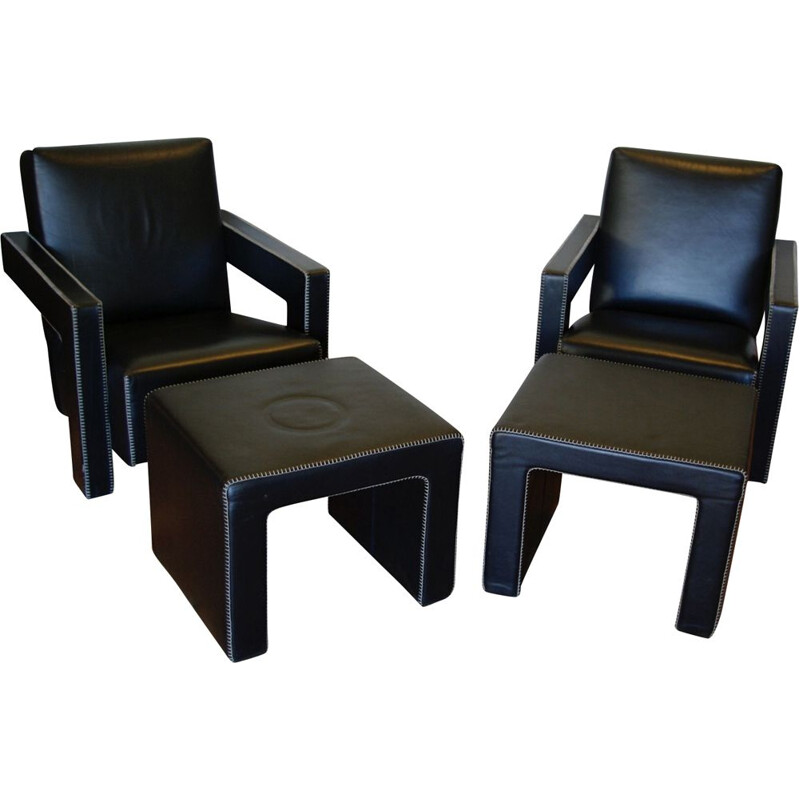 Set of 2 vintage armchairs utrecht and its ottoman