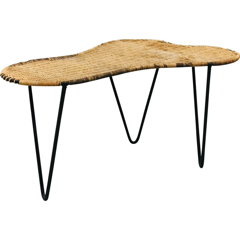 Vintage coffee table Rognon by Raoul Guys in rattan and black metal