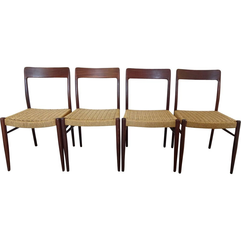 Set of 4 vintage chairs Scandinavian rope Niels MÖLLER