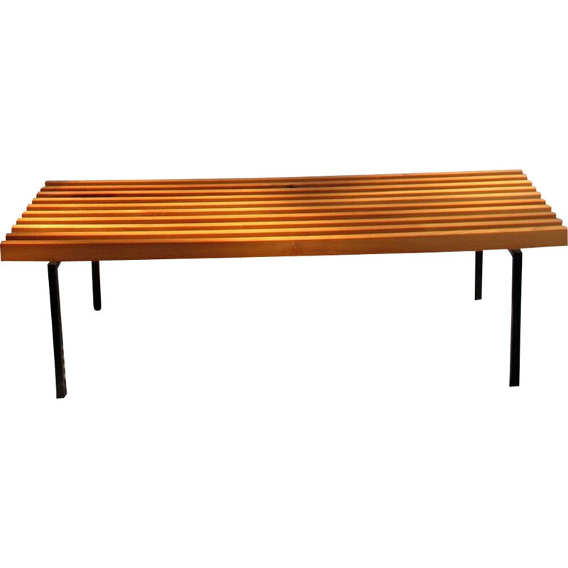 Vintage bench wooden bars in a black lacquered metal base