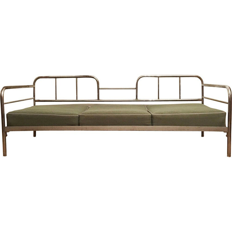 Vintage tubular steel couch  daybed by Robert Slezak