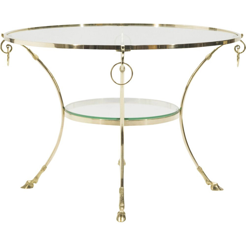 French vintage table for Maison Charles in glass and brass 1970