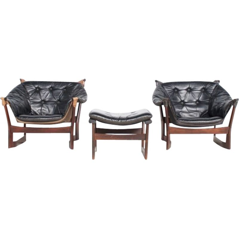 Pair of vintage armchairs for Westnofa in black leather and rosewood 1970