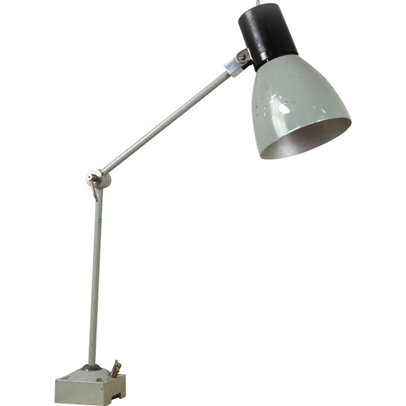 Vintage industrial gray metal lamp 1960