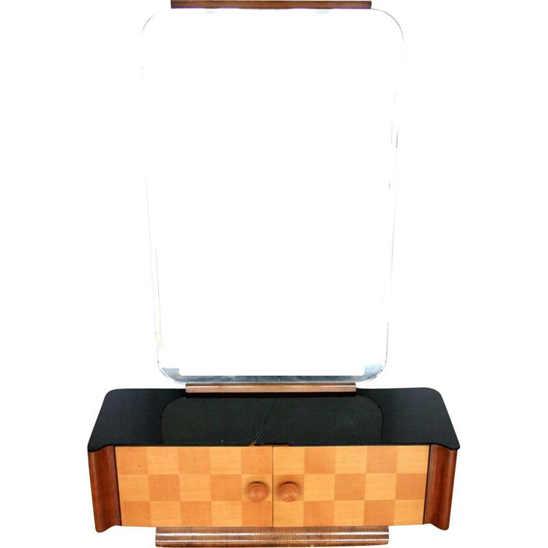Vintage dressing table for UP Zavody in wood and glass 1950