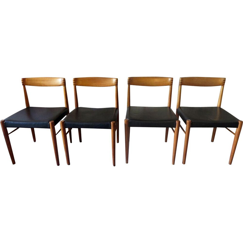Set of 4 vintage chairs for Bramin in teak and black leather 1960