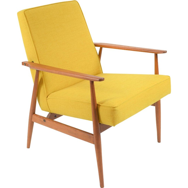 Vintage armchair in yellow fabric and wood 1960
