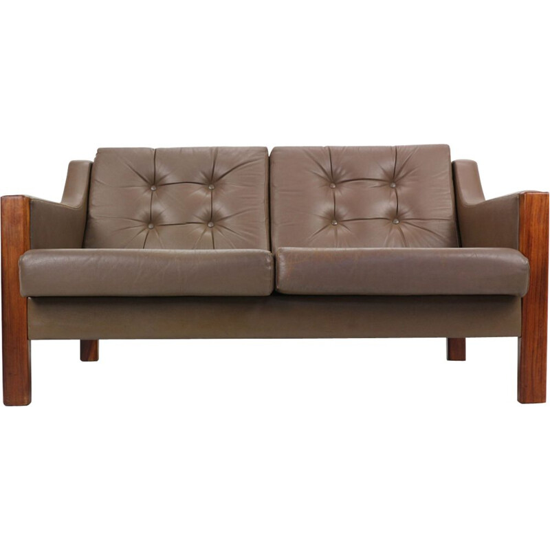 Vintage scandinavian 2 Seater leather sofa and rosewood
