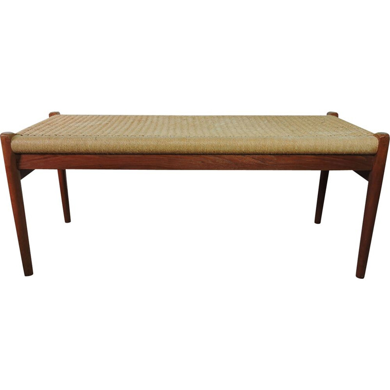 Vintage danish teak bench for J. L. Moller with cord seat 1950
