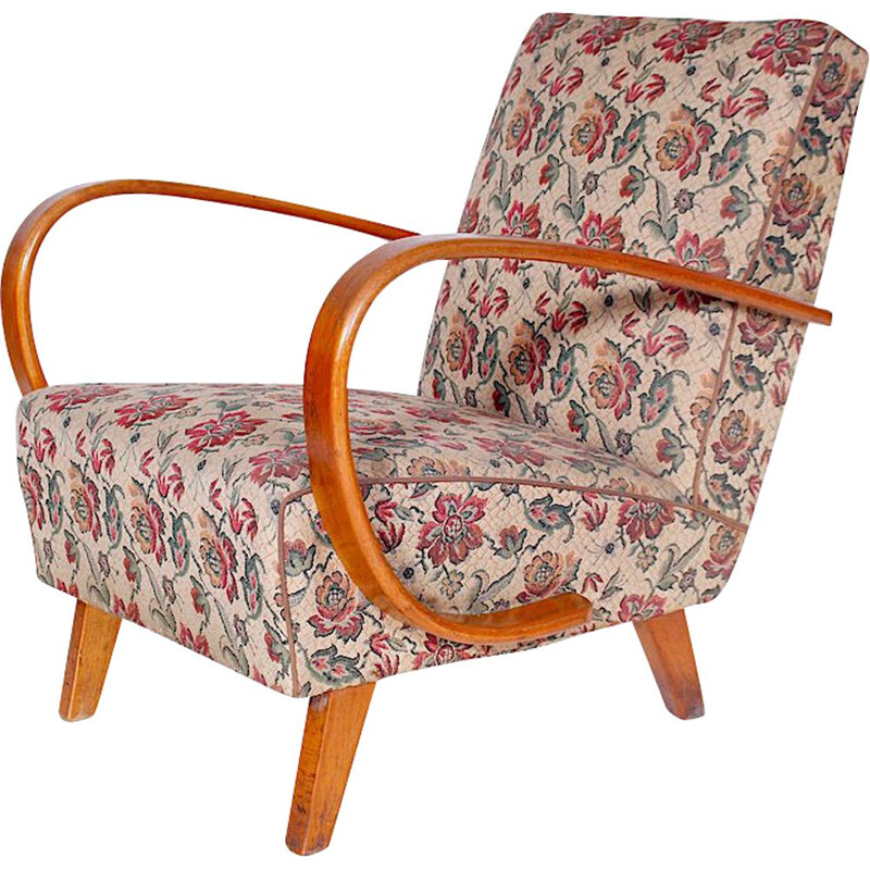 Vintage armchair for UP Závody in fabric and oakwood 1950