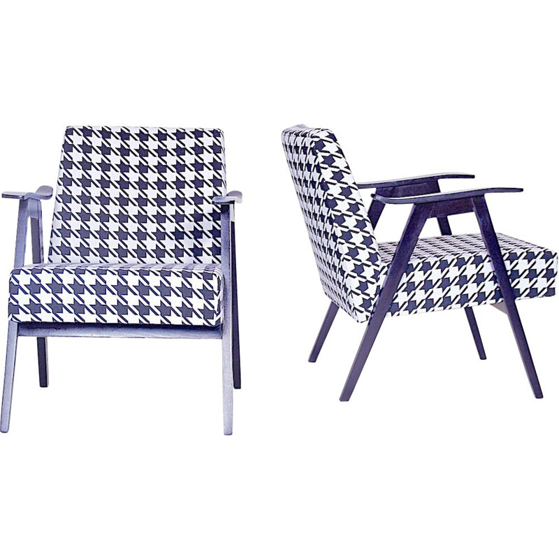 Pair of vintage armchairs black and white fabric and wood 1980