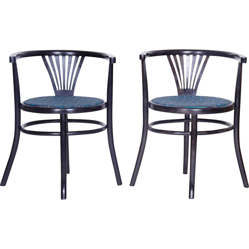 Set of 2 vintage chairs for Thonet Mundus in blue fabric and wood