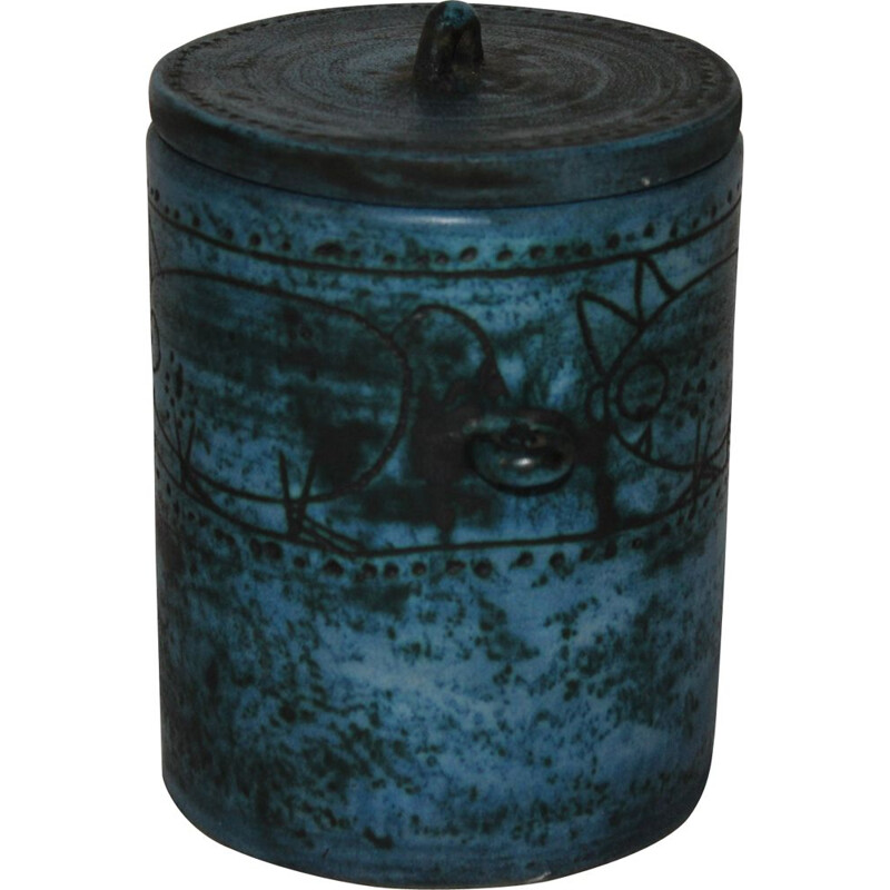 French vintage pot by Jacques Blin in blue ceramic 1950