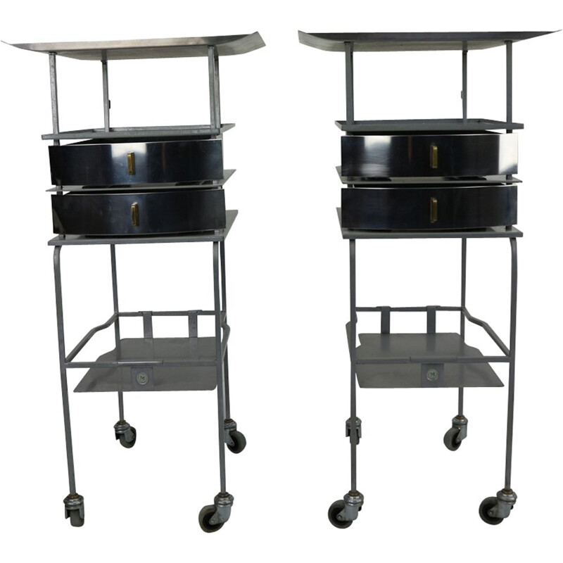 Vintage set of 2 Industrial trolleys stainless steel  side tables 1950s
